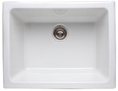 "Rohl Allia 6347 24"" Fireclay Kitchen Sink with 10"" Deep Bowl, Acid / Alkali / Abrasion Resistance, U.S. & Canada 6347"
