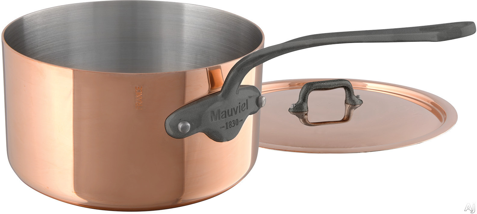 Mauviel 645017 M'150C2 1-9/10 Quart Sauce Pan and Lid with Copper Stainless Steel, High Performance and Non-Reactive