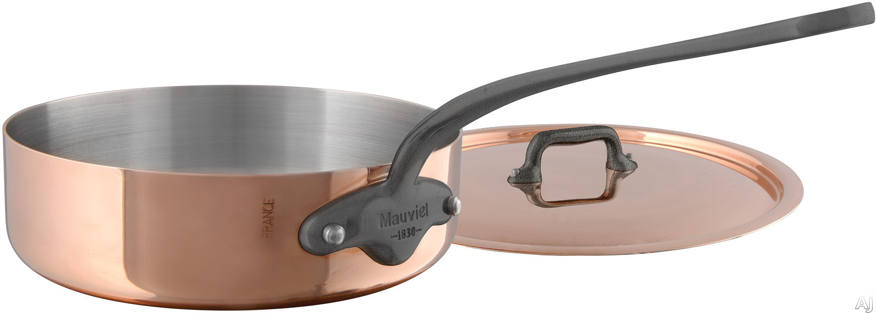 Mauviel 645125 M'150C2 3-1/5 Quart Saute Pan and Lid with Copper Stainless Steel, High Performance and Non-Reactive
