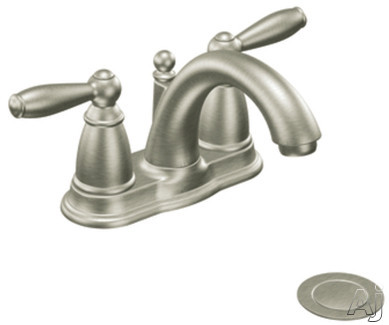 "Moen Brantford 6610BN Double Lever Lavatory Faucet with 5-1/4"" Reach, 5"" Height, Metal Drain Assembly and ADA Compliant: Brushed Nickel"