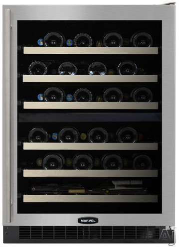 "Marvel Chateau Collection 6SDZEBDLR 24"" Dual Zone Wine Cellar with 44-Bottle Capacity, 6 Glide-Out, U.S. & Canada 6SDZEBDLR"
