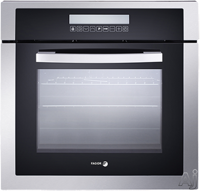Fagor 6HA200TDX 24 Inch Single Electric Wall Oven with 198 cu ft European Convection Cooking Celeris Pre Heat Booster Enameled Stainless Steel Lining LCD Display and Touch Control