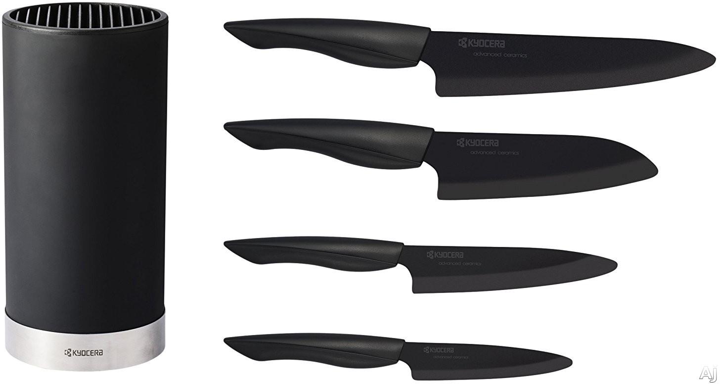 Kyocera KB5PCZKBKBKUBK 5-Piece Universal Ceramic Knife Block Set with Advanced Pure Ceramic, Razor Sharp, Ultra Lightweight, Ergonomic Handle and Lifetime Warranty