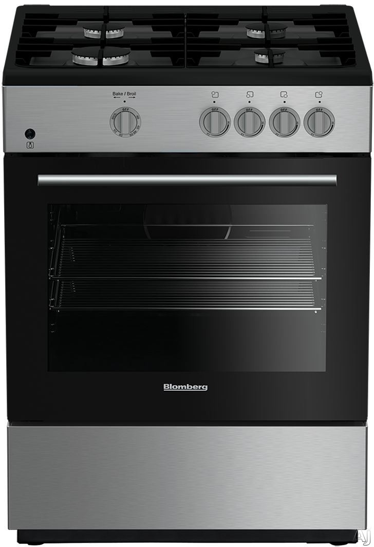 Blomberg BGR24102SS 24 Inch Freestanding Gas Range with Door Cooling 2.3 cu. ft. Capacity 4 Sealed Burners, Cast Iron Grates, LP Convertible Removable Door, Electronic Ignition, 5 Rack Positions, 10,000 BTU Burner, Interior Oven Light and Chrome Plated R