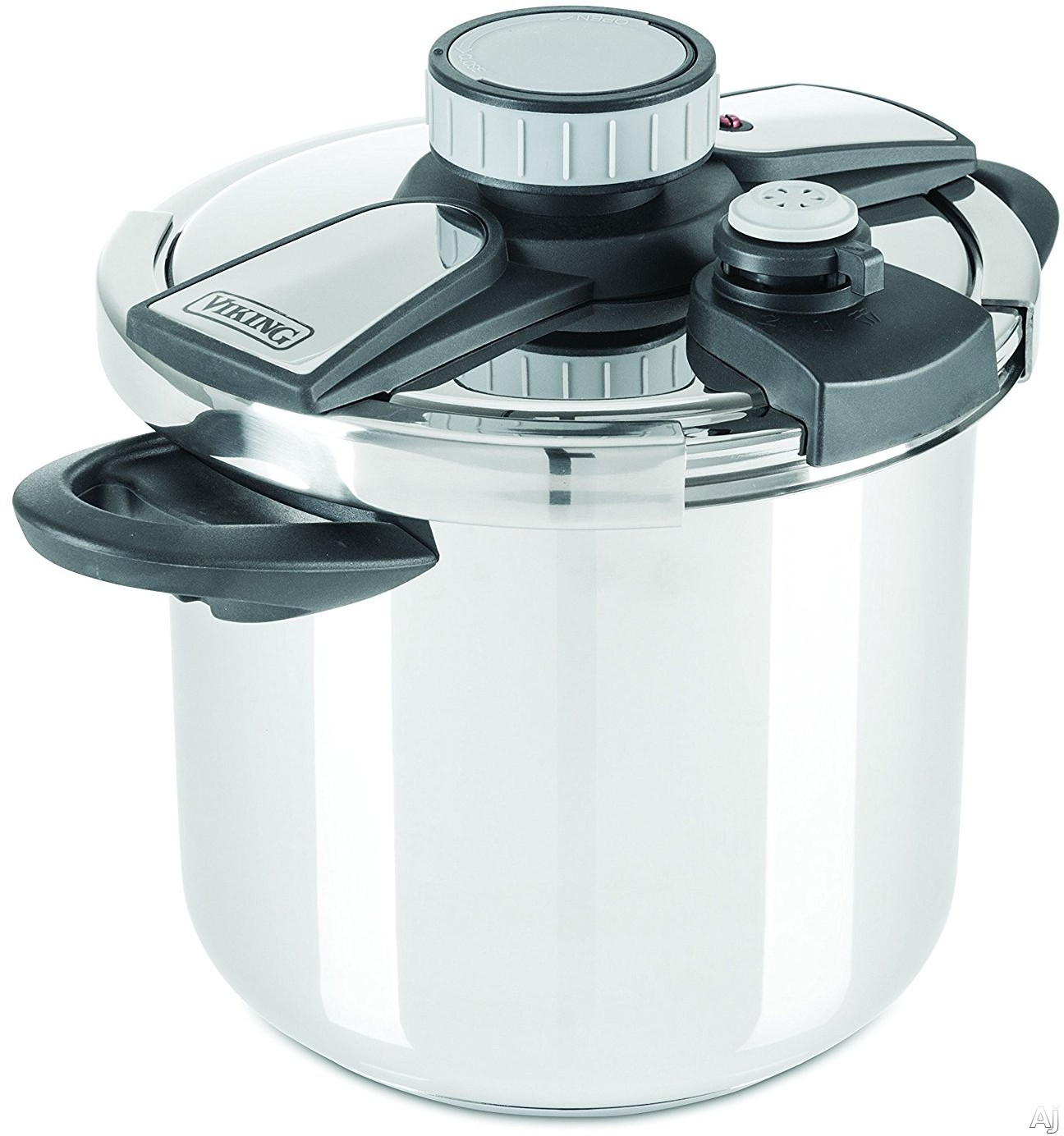 Image of Viking 405028QBLK Stainless Steel Pressure Cooker with Steamer Basket, Induction Suitable, Pressure Release Dial, Stay-Cool Handles, Easy-Lock Lid, Trivet, Measurement Markers and 8-Quart Capacity