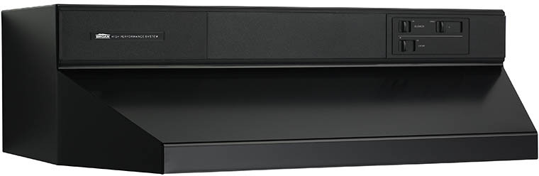 Broan 88000 Series 884223 42 Inch Under Cabinet Range Hood with 360 CFM Internal Blower, Infinite Speed Slide Controls, Standard Heat Sentry, 2 Washable Aluminum Filters and Convertible to Recirculating: Black