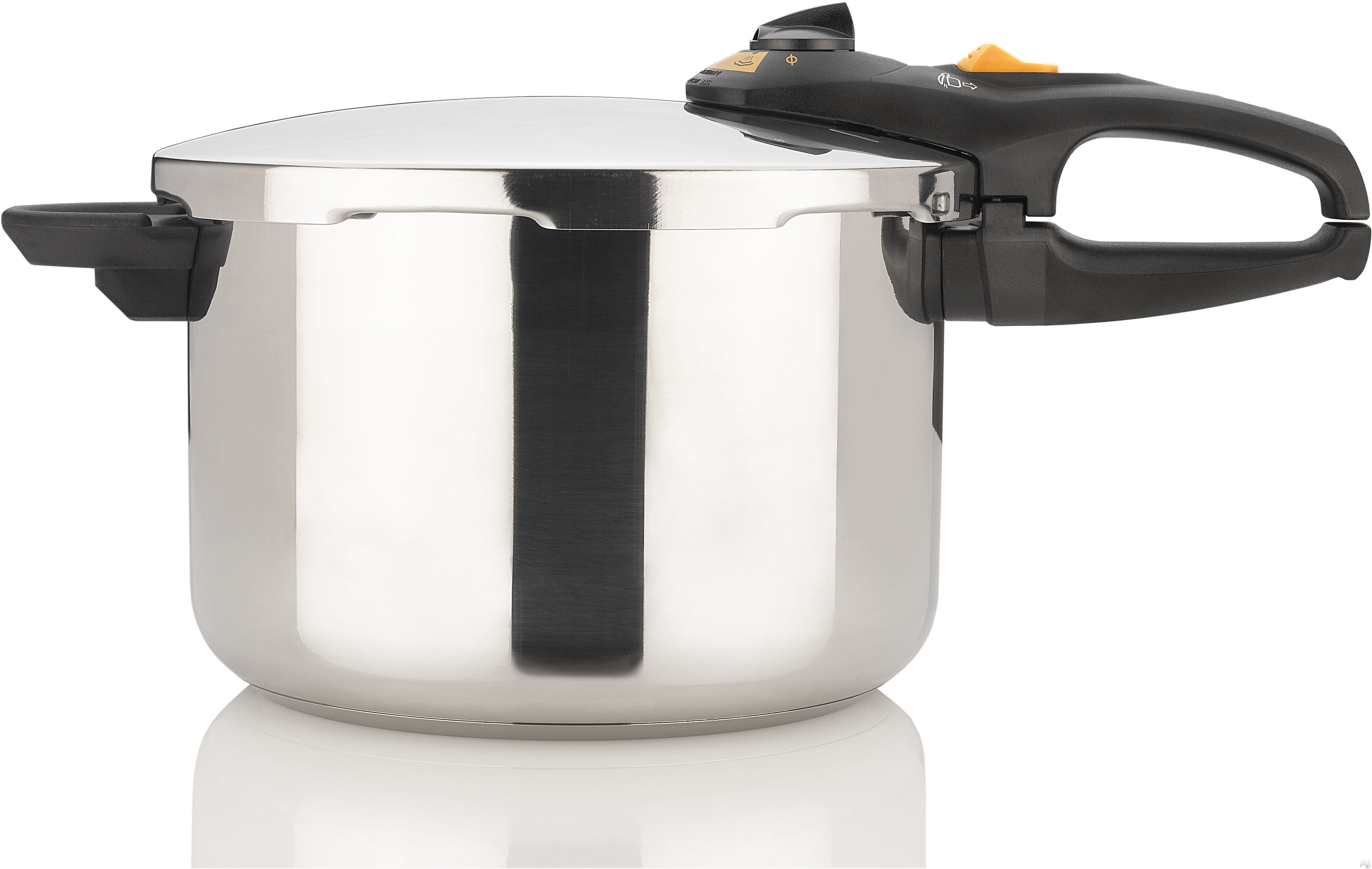 Image of Fagor 918060251 Duo 6-Quart Pressure Cooker with Triple Safety Mechanism, Induction Suitable, Dial Controls, Automatic Pressure Release, Stainless Steel, Steamer Basket and Trivet