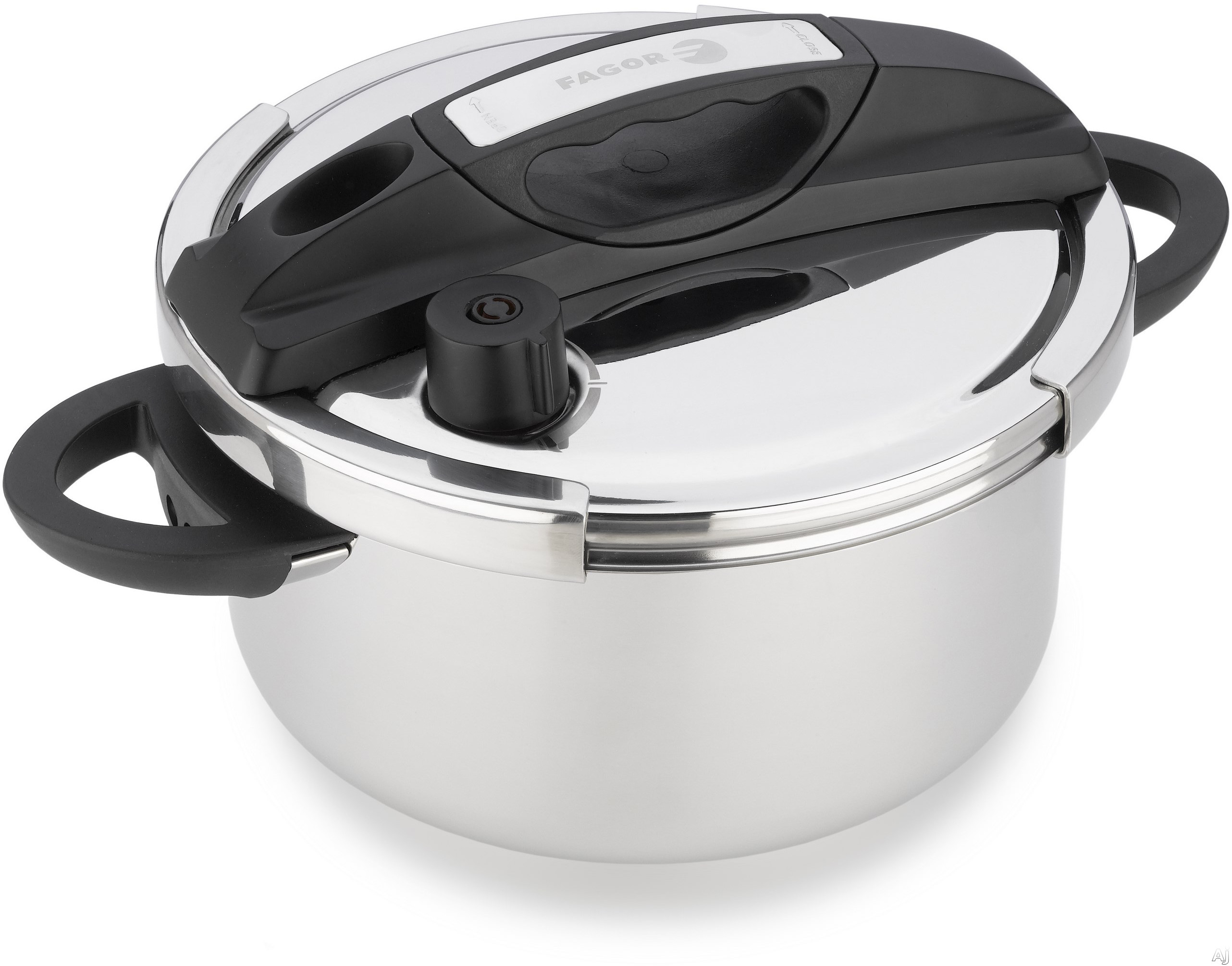 Image of Fagor 935010056 Helix 6-Quart Pressure Cooker with Fast Cooking, Easy-Lock Lid, Induction Suitable, Two Pressure Settings, Automatic Pressure Release, Stainless Steel, Steamer Basket and Trivet