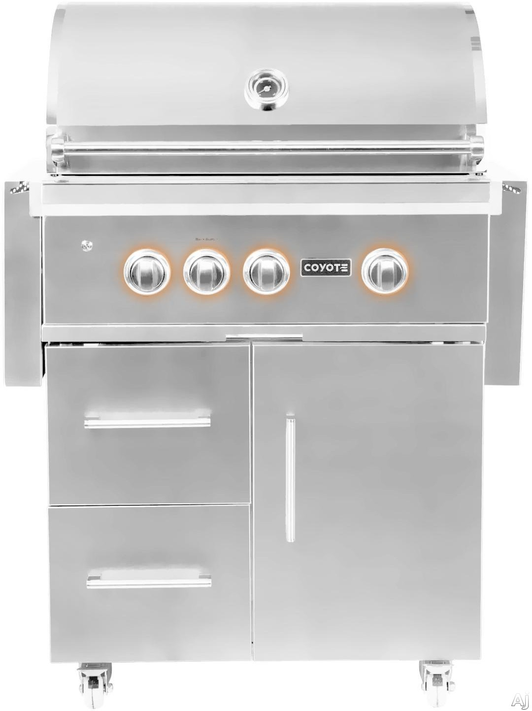 "Coyote C2SL30XXFS 30 Inch Freestanding Grill with 2 Infinity Burnersâ""¢, RapidSearâ""¢ Infrared Burner, 700 sq. in. Cooking Surface, Rotisserie and Smoker Box"