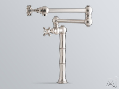 "Rohl Country Kitchen Collection A1452LPPN2 Double Lever Deck/Island Mount Pot Filler Faucet with 21"" Reach Swing Arm, Porcelain Levers, Brass Construction and AB1953 / S152 Compliance: Polished Nickel"