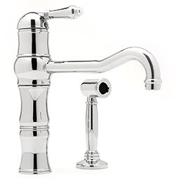 Rohl Country Kitchen Collection A3479LMWSSTN2 Single Lever Cast Spout Kitchen Faucet with Sidespray, U.S. & Canada A3479LMWSSTN2