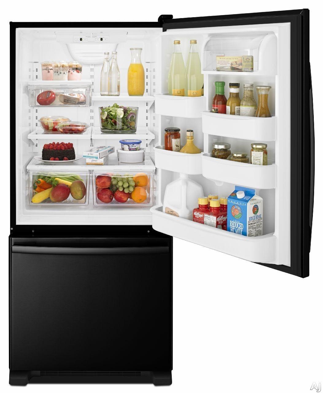 Amana ABB1924BRB 185 cu ft Bottom Freezer Refrigerator with Spillsaver Glass Shelves Two Crisper Drawers Temp Assure Freshness Controls Gallon Door Storage and Pull Out Freezer Drawer Black