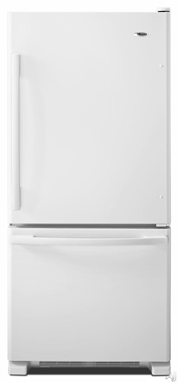 Amana ABB1924BRW 185 cu ft Bottom Freezer Refrigerator with Spillsaver Glass Shelves Two Crisper Drawers Temp Assure Freshness Controls Gallon Door Storage and Pull Out Freezer Drawer White