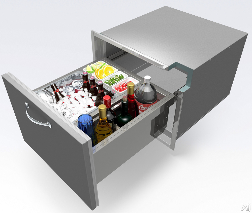 Alfresco ABID 26 Inch Insulated Undercounter Ice Drawer and Beverage Center With All Stainless Steel Construction 4 Condiment Pans and 1 Inch Thick Foam Insulation