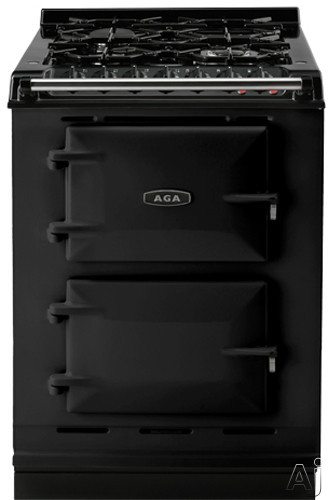Picture of AGA ACMPLPBLK 24 Inch Cast-Iron Companion Dual Fuel Range with Liquid Propane Manual Clean 4 Sealed Burners Slow Cook Oven Roasting Oven and Two Electric Ovens Black