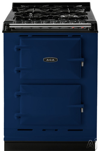 AGA ACMPLPDBL 24 Inch Cast Iron Companion Dual Fuel Range with Liquid Propane Manual Clean 4 Sealed Burners Slow Cook Oven Roasting Oven and Two Electric Ovens Dark Blue