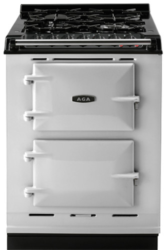 AGA ACMPLPPAS 24 Inch Cast Iron Companion Dual Fuel Range with Liquid Propane Manual Clean 4 Sealed Burners Slow Cook Oven Roasting Oven and Two Electric Ovens Pearl Ashes