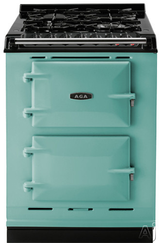 AGA ACMPLPPIS 24 Inch Cast Iron Companion Dual Fuel Range with Liquid Propane Manual Clean 4 Sealed Burners Slow Cook Oven Roasting Oven and Two Electric Ovens Pistachio