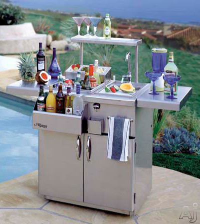 Alfresco ADT42RFG 42 Inch Freestanding Refrigerated Bartender with Insulated Ice Compartment Bottle Wells and Front Speed Rail