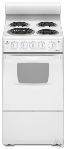 "Amana AEP222VAW 20"" Freestanding Electric Range with 4 Coil Elements, 2.6 cu. ft. Manual Clean Oven, Large Oven Window and Interior Oven Light"