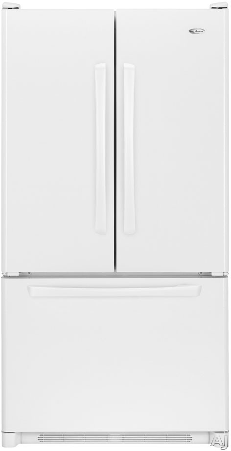 Amana AFD2535DEW 25.0 cu. ft. Freestanding French Door Refrigerator with 2 Easy Glide Shelves, Adjustable Door Bins, Internal Water Dispenser and Ice Maker: Whi