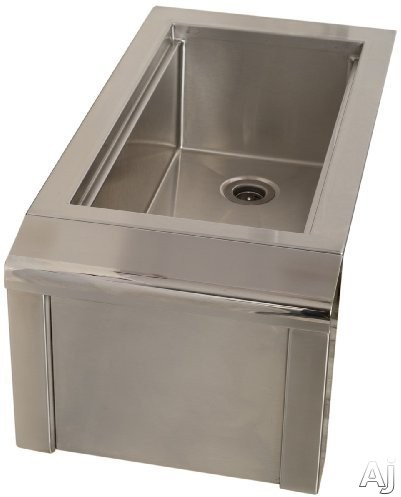Alfresco AGBC14 14 Inch Built In Bartender and Sink System with 3 Inch Basket Drain and Stopper 1 Inch Thick Foam Insulation 10 Inch Speed Rail Sliding Ice Cover and Stainless Steel Construction