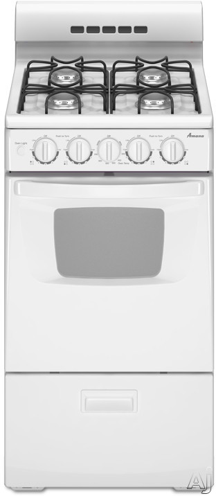 "Amana AGG222VDW 20"" Freestanding Gas Range with 4 Sealed Burners, 2.6 cu. ft. Manual Clean Oven, Large Oven Window and Interior Oven Light"