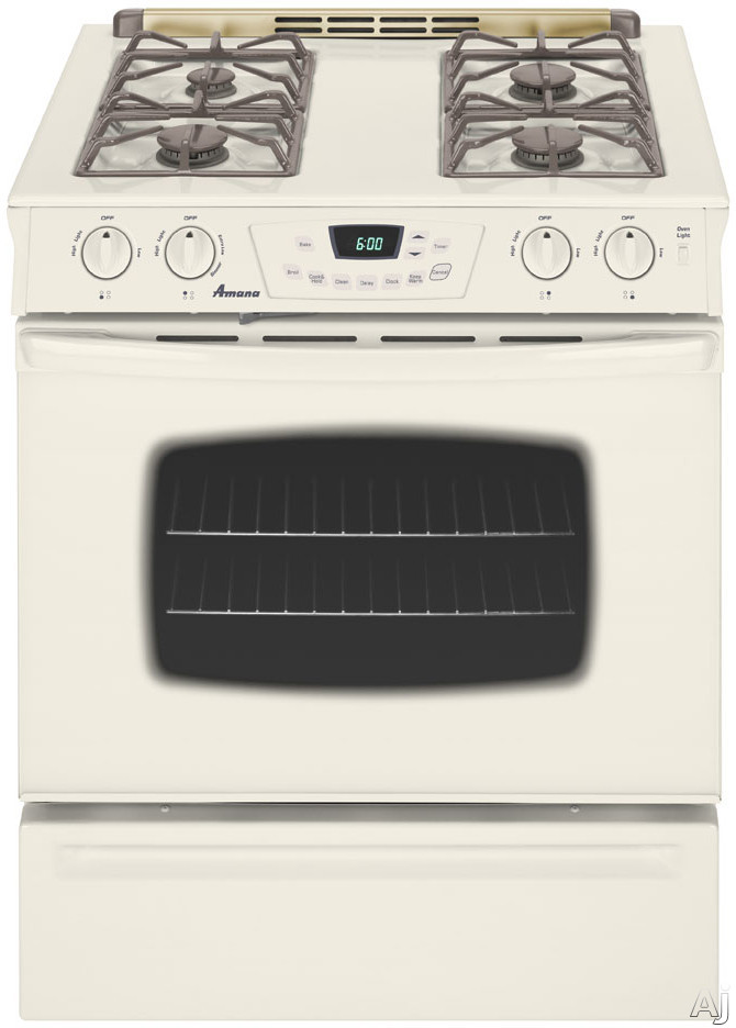 "Amana AGS3760BDQ 30"" Slide-In Gas Range With 4 Sealed Burners 4.5 Cu Ft Self-Cleaning Oven Extra-Large Window And Storage Drawer Bisque"