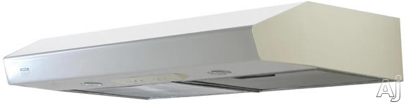Zephyr Breeze II Series AK1236W 36 Inch Under Cabinet Range Hood with 400 CFM Internal Blower, 3 Speed Touch Controls, 2 Incandescent Lamps and Recirculating Option: White