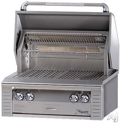 Alfresco LX2 ALX230IRLP 30 Inch Built-in Gas Grill with 542 sq. in. Cooking Surface, 2 Stainless Steel Main Burners, Integrated Rotisserie Motor, Dual Work Lights and All Infrared Burners: Liquid Prop