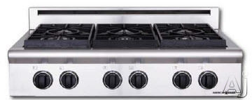 American Range Performer Series AROBSCT636 36 Inch Slide-In Gas Rangetop with 6 Open Burners, Continuous Cast Iron Grates and Fail-Safe System
