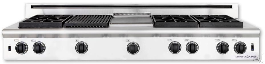 American Range Performer Series AROBSCT660X2GRN 60 Inch Slide-In Gas Rangetop with 6 Open Burners, Two 11 Inch Searing Grills, Continuous Cast Iron Grates and Fail-Safe System: Natural Gas