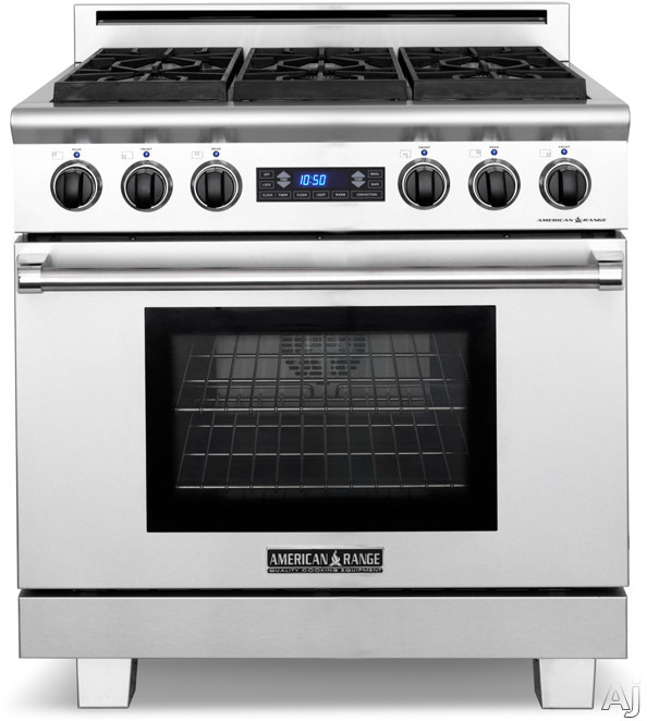 American Range Medallion Series ARR364GRDF 36 Inch Pro-Style Dual-Fuel Range with 4 Sealed Burners, 5.7 cu. ft. Straight Convection Oven, Self-Clean, Infrared Broiler, 11 Inch Grill and Blue VFD Display ARR364GRDF