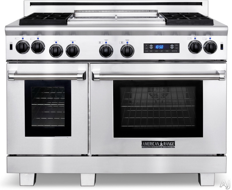 American Range Medallion Series ARR484X2GRDF 48 Inch Pro-Style Dual-Fuel Range with 4 Sealed Burners, 4.7 cu. ft. Electric Convection Oven, 2.7 cu. ft. Gas Innovection Oven, Self-Clean, Infrared Broiler and 22 Inch Grill