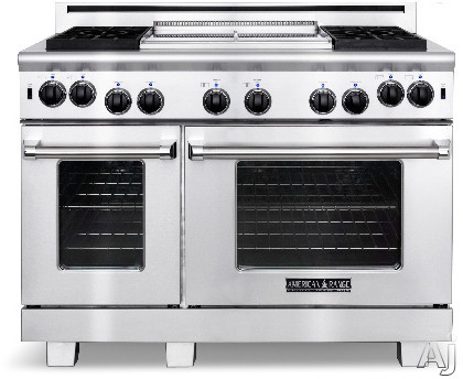American Range Heritage Classic Series ARR484X2GR 48 Inch Pro-Style Gas Range with 4 Sealed Burners, 4.9 cu. ft. Innovection Main Oven, Manual Clean, 30,000 BTU Bake Burner, 22 Inch Grill and Infrared Broiler