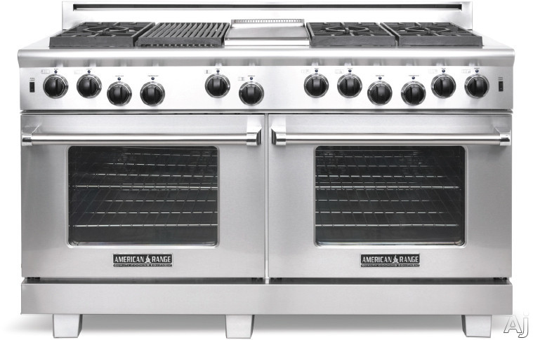 American Range Heritage Classic Series ARR606X2GR 60 Inch Pro-Style Gas Range with 6 Sealed Burners, 4.9 cu. ft. Innovection Ovens, Manual Clean, 30,000 BTU Bake Burner, 22 Inch Grill and Infrared Broiler