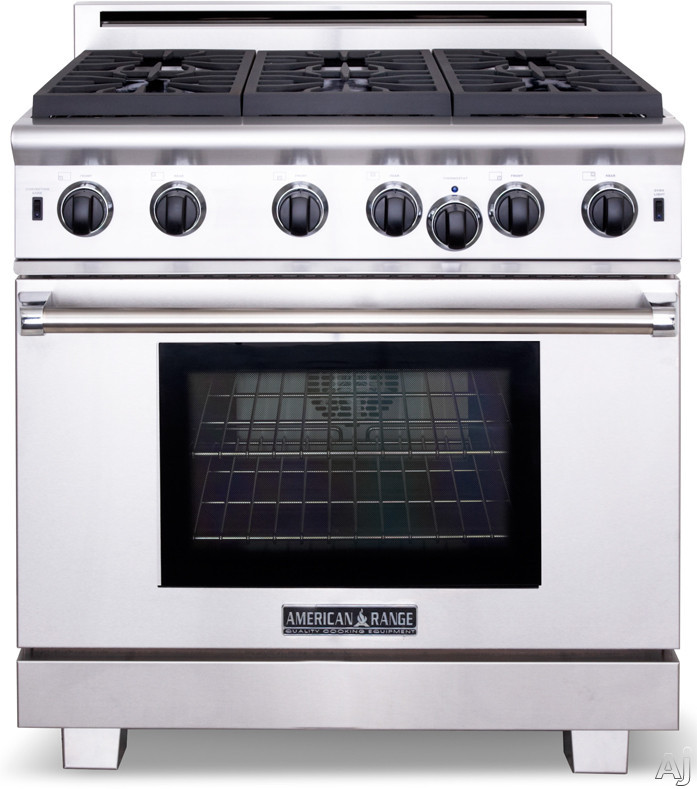 "American Range Cuisine Series ARR436GR 36"" Pro-Style Gas Range with 4 Sealed Burners, 5.3 cu. ft. Innovection Oven, Manual Clean, Infrared Broiler, 11"" Grill and Island Trim Included"