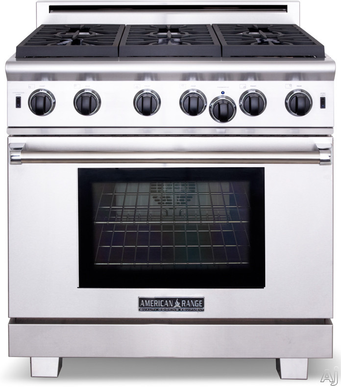 American Range Performer Series ARROB436GD 36 Inch Pro-Style Gas Range with 5.3 cu. ft. Innovection Oven, 4 Open Burners, Convection Bake, Infrared Broiler, 11 Inch Griddle and Island Trim Included