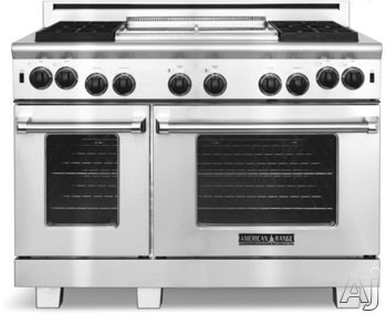 Image of American Range Performer Series ARROB4482GDN 48 Inch Pro-Style Gas Range with 4 Open Burners, 4.3 cu. ft. Manual Clean Large Oven, Innovection Convection System, 1,800-¦F Infrared Broiler and 22 Inch Griddle: Natural Gas