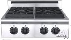 """American Range Legend Series ARSCT244 24"""" Pro-Style Gas Rangetop with 4 Sealed Burners, Variable Infinite Flame Settings, Commercial Grade Grates and Fail-Safe System"""