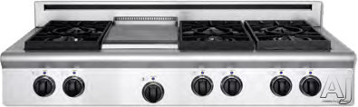 American Range Legend Series ARSCT484GDGR 48 Inch Pro-Style Gas Rangetop with 4 Sealed Burners, 11 Inch Griddle, 11 Inch Grill, Variable Infinite Flame Settings, Commercial Grade Grates and Fail-Safe System