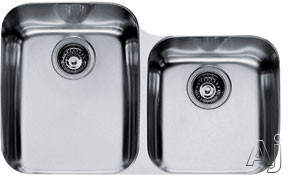 Franke Artisan Series ARX12030 30 Inch Undermount Double Bowl Stainless Steel Sink with Integral Ledge, 18-Gauge and Polished Finish