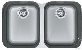 Franke Artisan Series ARX12031 31 Inch Undermount Double Bowl Stainless Steel Sink with Integral Ledge, 18-Gauge and Polished Finish