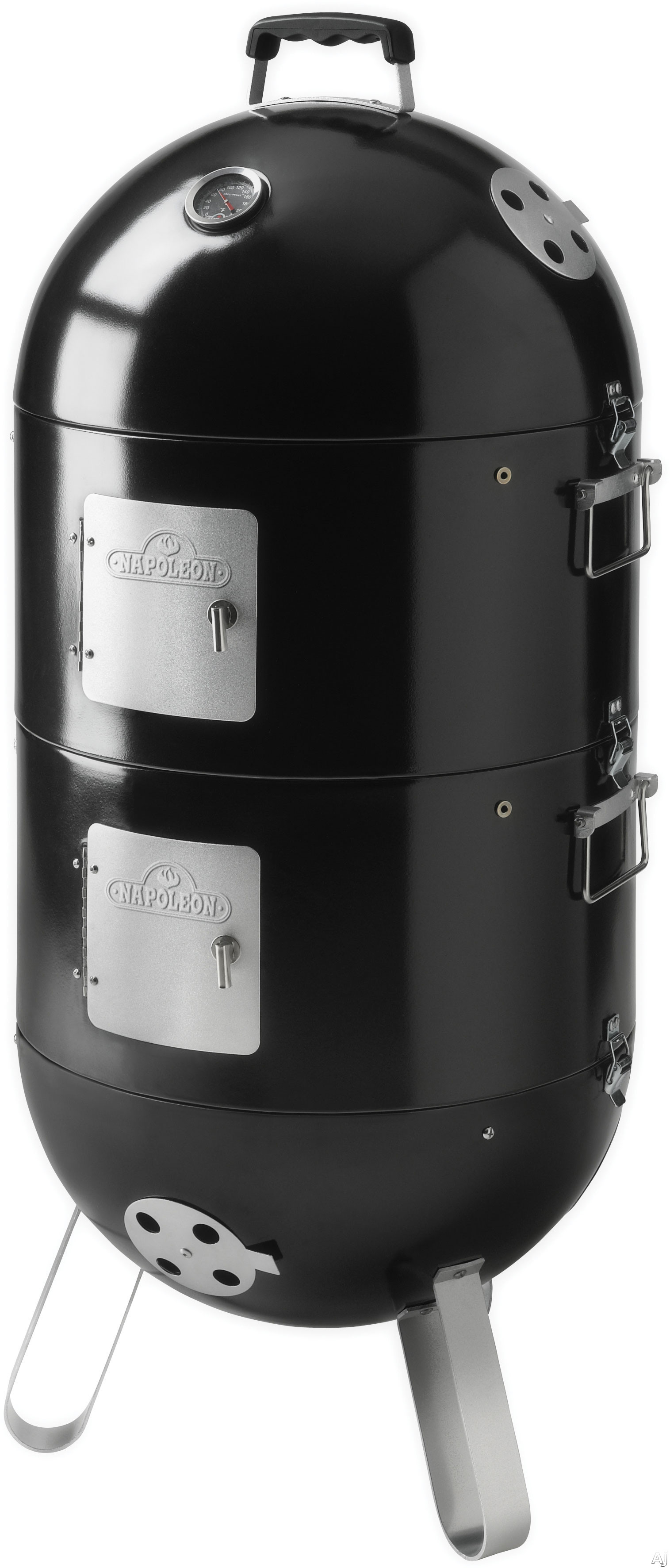Napoleon Apollo Series AS200K1 3-in-1 Charcoal and Water Smoker with 3 Cooking Chambers, ACCU-Probe Temperature Gauge, Meat Hooks, 16 Inch Cooking Grid, Multiple Vents and Easy Access Doors