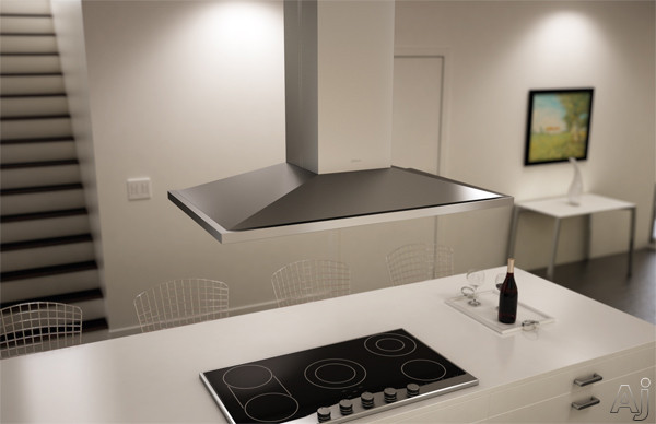 Zephyr Europa Anzio Series ZAZM90BS 36 Inch Island Mount Chimney Pro Range Hood with 600 CFM Internal Blower, ICON Touch Controls, 6 Sones, Vertical Ducting and Convertible to Recirculating