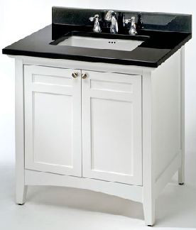 Empire Industries Biltmore Collection B36w 36 Inch Contemporary Shaker Style Vanity With 2 Cabinet Doors, White Finish And Optional Countertops