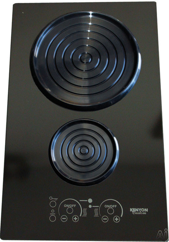 Kenyon SilKEN Series B80101 15 Inch Induction Cooktop with 2 Cooking Zones, Spill/Pot Retention, Auto Shut-Off, ON/HOT Indicator Light and Portrait Mounting: Black Glass