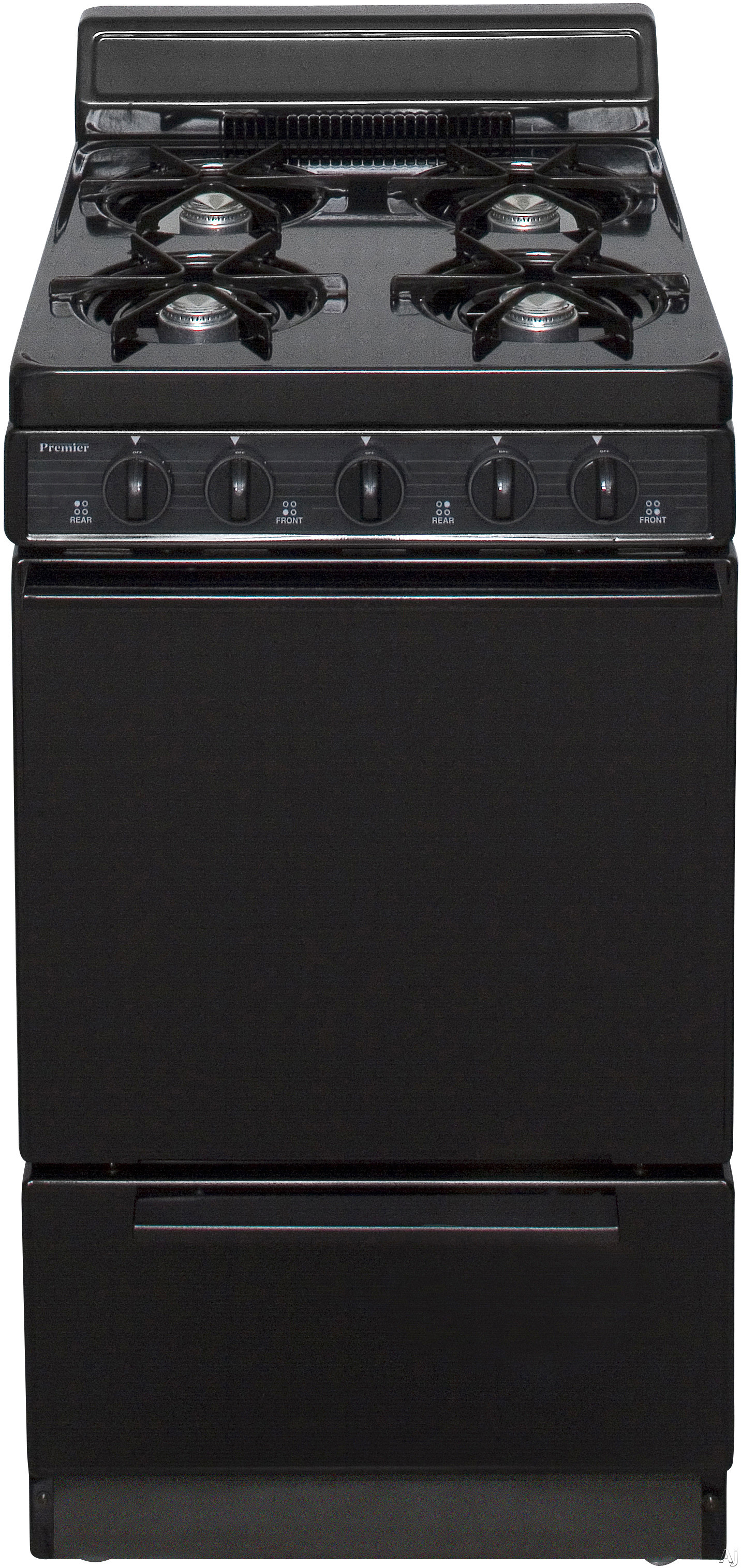 Premier BAK100BP 20 Inch Freestanding Gas Range with 4 Open Burners Battery Spark Ignition 17 000 BTU Burner and 4 Inch Porcelain Backguard Black
