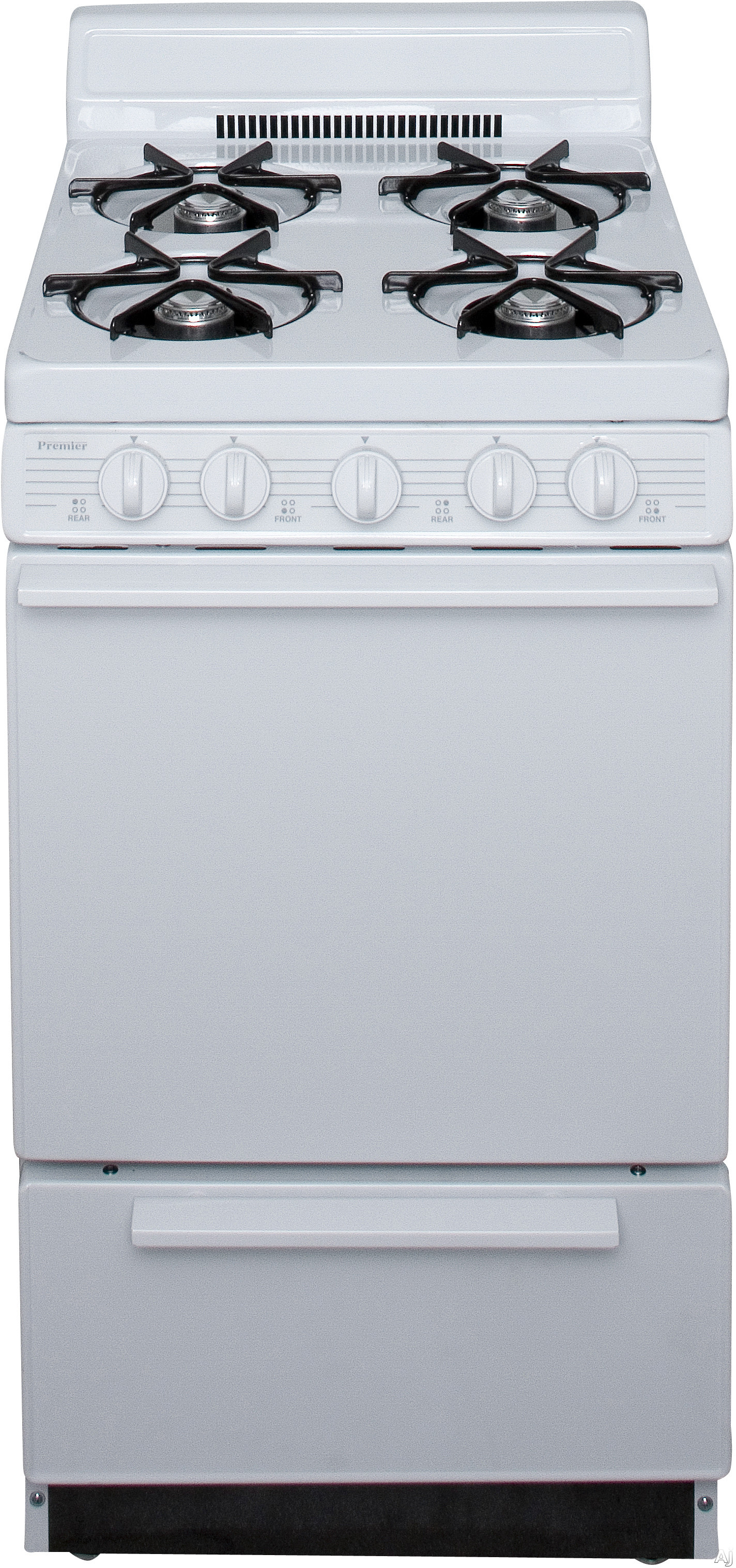 Premier BAK100OP 20 Inch Freestanding Gas Range with 4 Open Burners Battery Spark Ignition 17 000 BTU Burner and 4 Inch Porcelain Backguard White