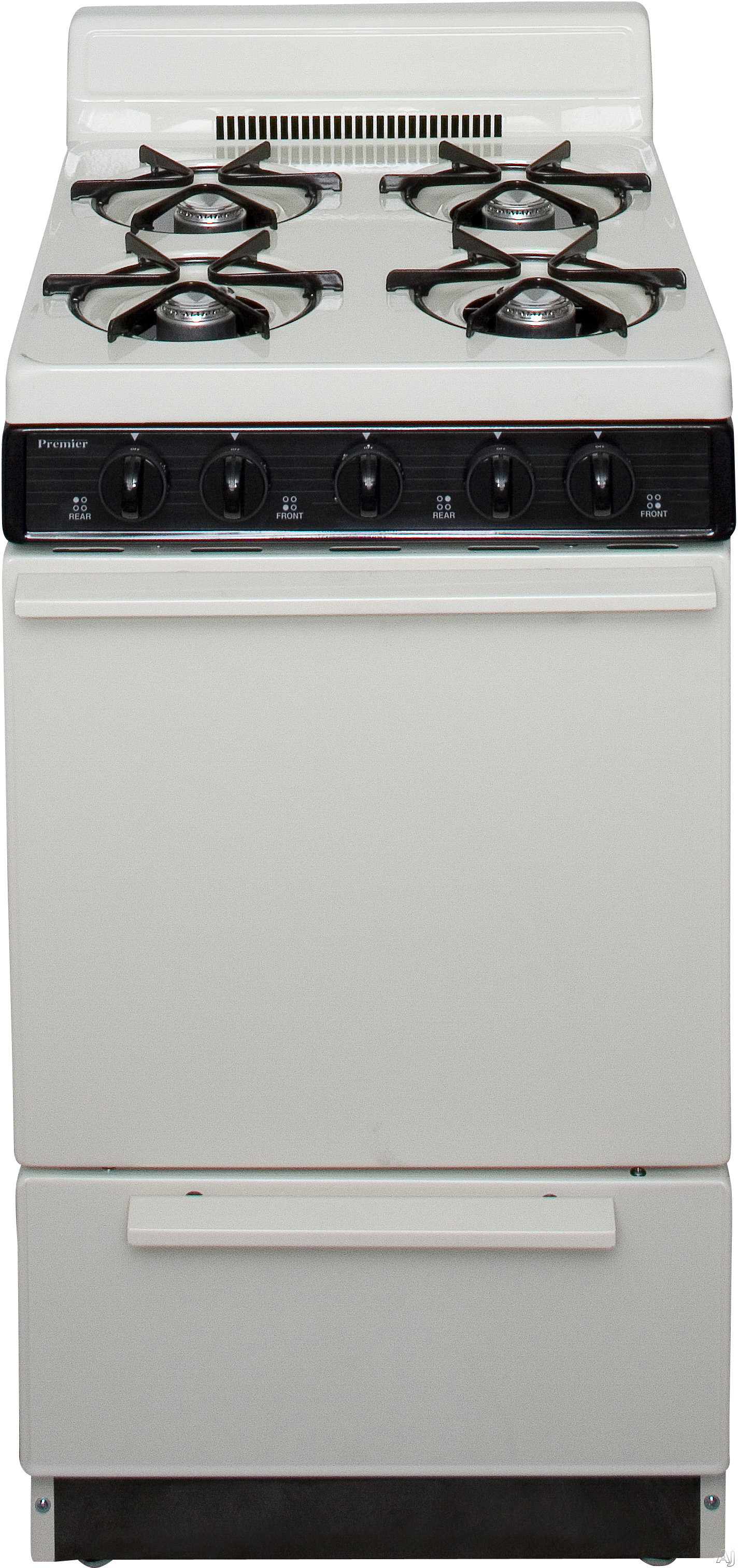 Premier BAK100TP 20 Inch Freestanding Gas Range with 4 Open Burners Battery Spark Ignition 17 000 BTU Burner and 4 Inch Porcelain Backguard Bisque